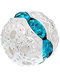 Hexawata Silver Color Spacer Balls Beads With Rhinestone Pack Of 20pcs Lake Blue