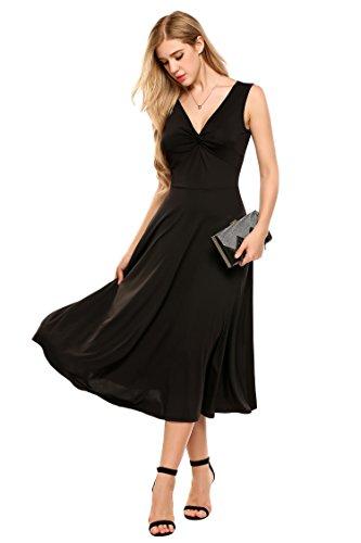 "Meaneor Damen Elegant Shirtkleid ohne Ã""rmel V-Ausschnitt Sommerkleid Abendkleid Festlich Swing Wickelkleid Wadenlang Schwarz EU36 S"
