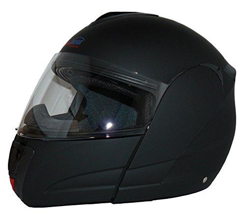 Protectwear KH-V210-MT-XL Motorradhelm, Integralhelm, Klapphelm KH-V210-MT mit Integrierter Sonnenblende, Größe XL, schwarz-matt