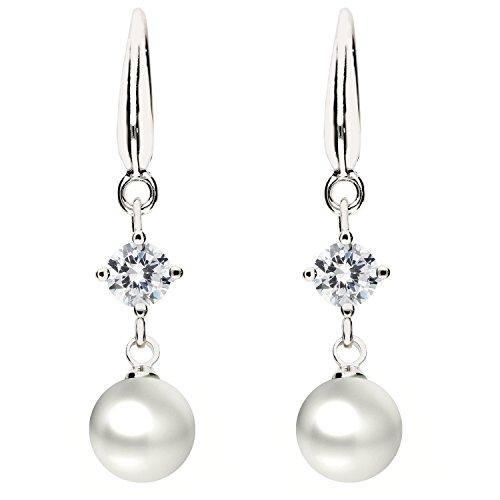 Träne Swarovski-kristall-perlen (MYA art Premium Damen Ohrringe Perlenohrringe Hängend 925 Sterling Silber Swarovski Elements Kristall mit Perlen Anhänger Weiß Perle MYASIOHR-75)