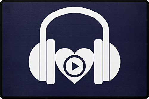 PlimPlom Musik DJ Fußmatte - I Love Music Türmatte für die Haustür oder Außenbereich - Schmutzfangmatte mit Herz Aufdruck aus Polypropylen mit Rutschfester Unterseite (Dunkelblau) (Star Wars Auto-fußmatten)