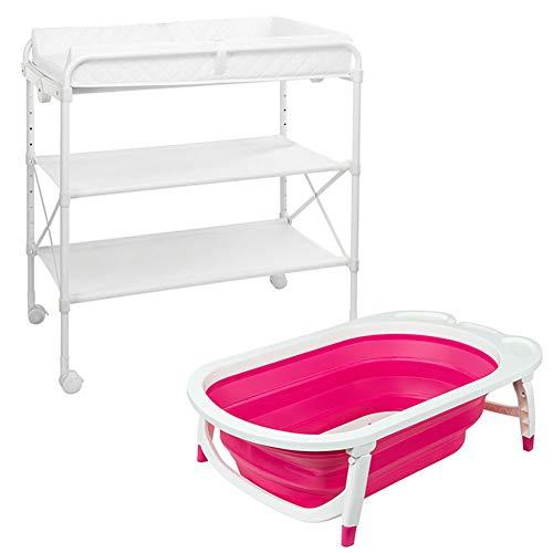 Tables à langer Table à langer pliante avec station de base pour baignoire à couches, Portable pour bébé fille rangement commode pépinière (Couleur : Pink)