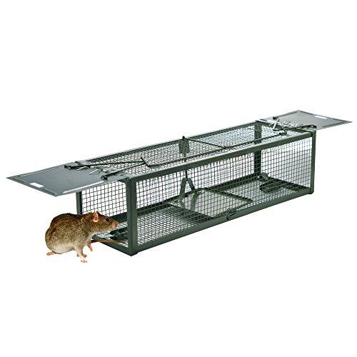 DSNOW Mausefalle Lebendfalle Mäusefalle Kastenfalle Rattenfalle Schlagfalle Tierfalle Wühlmaus Falle mit 2 Eingängen 39X13X11CM