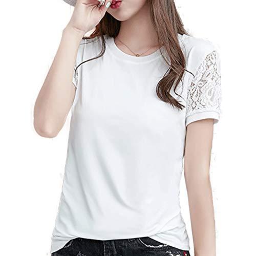 LILIGOD Frauen Kurzarm T-Shirt Damen Rundhals Lace Top Einfarbig Einfach Elegant Oberteil Glatt Eisseide Blouse Mode Wild T-Shirt Sommer Bequem Freizeit Oberteile Kleidung