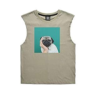 Duevin Beiläufiges Paar-Hemd, denkende Hundedrucken-Frauen-Mann-Sleeveless Weste-Art und Weise für Sommer