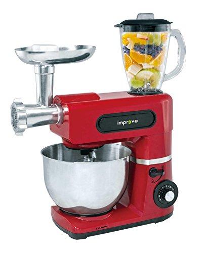 Improve IMPSM0403KT Kitchen machine 3 in 1 1500W, ciotola 6l, 6 velocità, tritacarne e frullatore - rosso