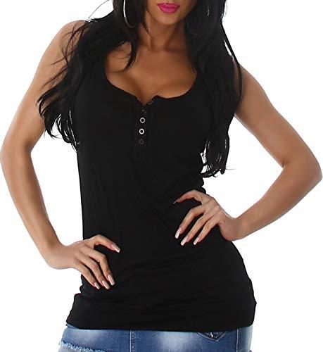 Voyelles Damen Long-Top Knopfleiste Träger Stretch Tanktop tiefer Ausschnitt sexy einfarbig Basic Stretch, Schwarz 36 38 40