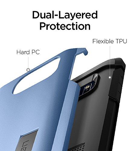 Samsung Galaxy S7 Edge Hülle, Spigen® [Tough Armor] Schwerschutz [Schwarz] Doppelte Schutzschicht & Extrem Hoher Fallschutz Schutzhülle für Samsung S7 Edge Case, Samsung S7 Edge Cover - Black (555CS20 TA Blue Coral