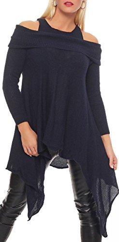 Italienische Kostüm - Malito Damen Pullover schulterfrei | Oberteil mit Wasserfallschnitt | schickes Sweatshirt | Kostüm 7339 (dunkelblau)
