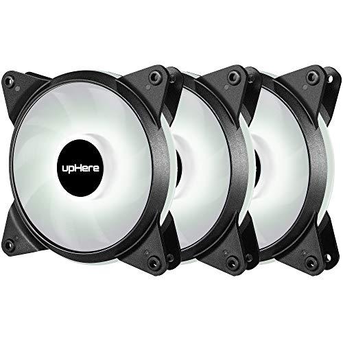 upHere 3-PIN LED Ventilateur pour Boîtier PC 120mm CPU Refroidisseur Super Silencieux 3 Pack,LED Blanc/T3WT3-3