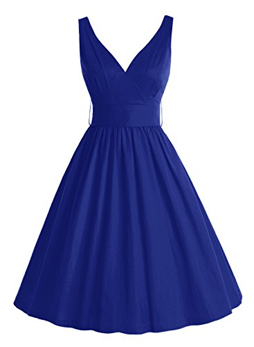 Bbonlinedress 50er Retro V-Ausschnitt Vintage Rockabilly Cocktailkleider Royal Blue M