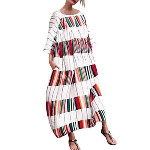 Angelof - Robe Longues Femme Fille Chic Vetement de Fete LâChe Imprimé  Couleur Rayé Droite Fleurie eb4dbd4ab3b