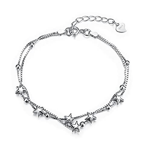 HMILYDYK Womens Bracelet Genuine 925 Silver Vintage High Polished Solid Ball Multi Star Double Strand