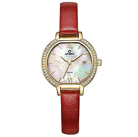 Dame Quarz-Uhr-Stahlbügel-Leder-Bügel-Schatz-Wölbungs-Diamant-Kalender-wasserdichtes Gold Silber , 3