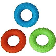PsmGoods 3agarre gimnasio mano dedo Ejercitador de antebrazos (3niveles), Green&Blue&Orange-Spots