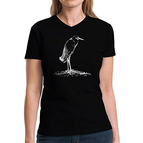 Eddany Snowy Egret sketch Damen V-Ausschnitt T-Shirt - Snowy Egret Tiere