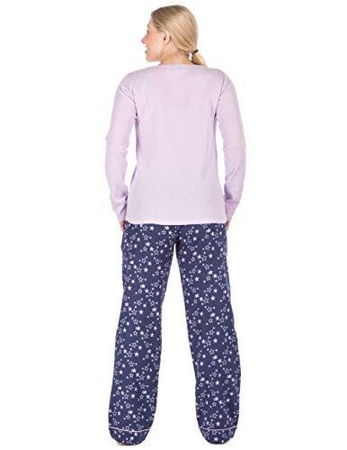 Noble Mount Homewear Ensemble de Pyjama en 100% Flanelle de Coton pour Femme Nuit Étoilée Bleu
