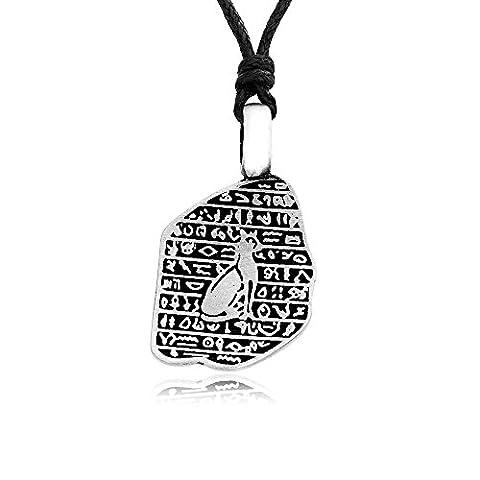 Llords Schmuck Halskette mit Hieroglyphen und ägyptischer Katze Anhänger, feinster Zinn Metall (Cat Kostüme Amazon)