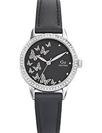 Go Girl Only–698606Damen-Armbanduhr–Quarz Analog–Zifferblatt schwarz Armband Leder schwarz