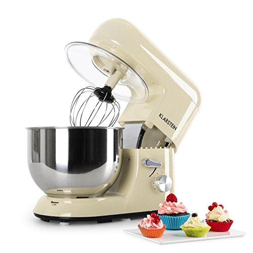 Klarstein Bella Morena - Küchenmaschine, Rührmaschine, Knetmaschine, 1200 W, 1,6 PS, 5,2 Liter, planetarisches Rührsystem, 6-stufige Geschwindigkeit, Edelstahlschüssel, creme