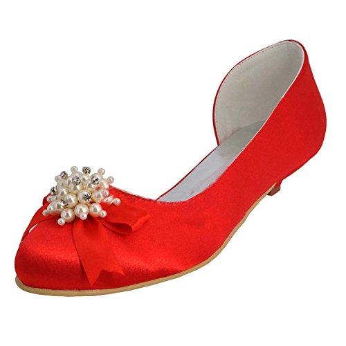 Minitoo , Chaussures de mariage tendance femme Red-3cm Heel