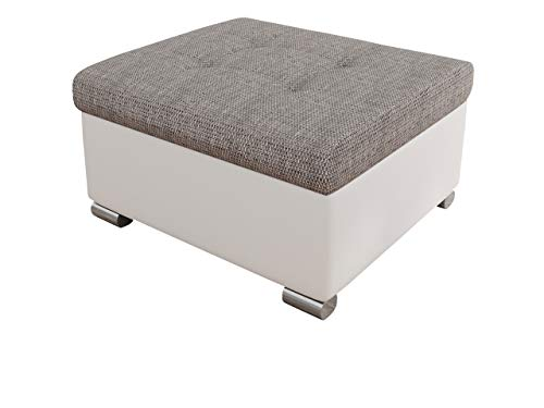 Mirjan24  Polsterhocker Niko klein Sitzbank Sitzhocker Fußbank Pouf Hocker Farbauswahl weiß grau (Soft 017 + Florida 01)