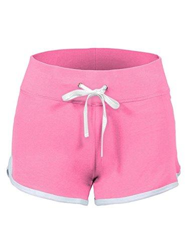 SWISSWELL Damen Sport Shorts Kurze Hosen Baumwolle Yoga Athletik Tanzen Shorts Fitness Hot Pants Hipster Workout, mit leichtem Figur formenden Effekt Rosa XL (Hot Rosa T-shirt)