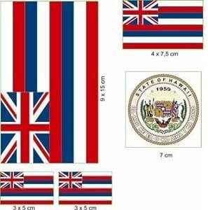 U24 Aufkleberbogen Hawaii Aufkleber Set Flagge Fahne Auto