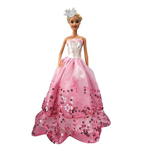 MOONBROOK Prinzessin-Abend-Partei-Kleidung trägt resse Spitze mit Pailletten für Barbie-Puppe des Mädchens Geburtstags-Geschenk Rosa (Designer-schuhe Billige Kaufen)