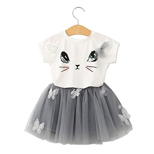 Kids T shirt+Mini Skirt Set, Transer® Kids Mini Skirts+ T-shirt Tops Girls Outfit Cat Pattern Butterfly Tutu Skirt Clothing Set Baby Swing Dresses Princess Tulle Dress (4-5 Years, White)