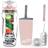 Instalite Fruit Infuser Water Bottle 1 Litre, BPA Free Tritan Material with Ice