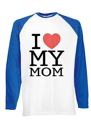Mothers Day I Love My Mom Heart Novelty Royal Blue/White Men Women Unisex Long Sleeve Baseball T Shirt-XXL (Mom-tattoo I Heart)