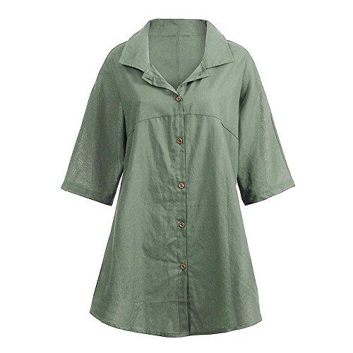 SEWORLD 2018 Damen Mode Sommer Herbst Elegant Schal Frauen Beiläufige Ausschnit BluseHalbarm Shirt Button Tops(Armeegrün,EU-36/CN-M)
