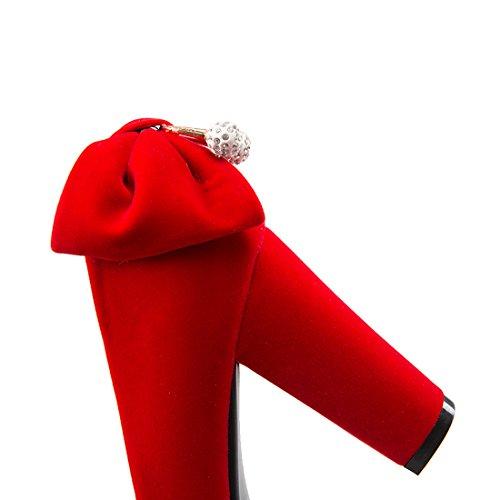 YE Damen Chunky High Heels Plateau Runde Spitze Geschlossen Pumps mit Schleife und Strass Bequem Blockabsatz Süß Elegant Schuhe Rot