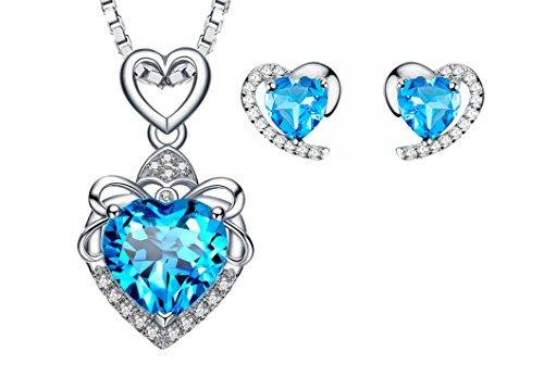 Hecho con SWAROVSKI ELEMENTS Conjunto de Joyas Collar Colgante Pendientes Corazón Oro Blanco Enchapado Plata de ley Regalos para Mujer Azul