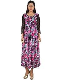LondonHouze Lace Sleeves Floral Maxi Dress