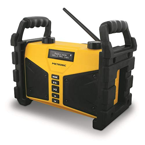 Metronic 477208 Radio FM Bluetooth 20 W de chantier résistante aux chocs avec Port USB play&charge, AUX-IN, - Jaune et Noir