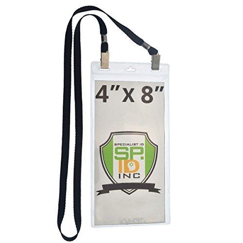 5pack-10,2x 20,3cm Extra Groß Ticket & Event identifikationstechnik Namensschild Halter mit doppelseitigem Lanyards mit zwei Bulldog Clips, durch Specialist ID 5 Stück schwarz