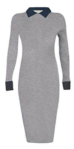 Generic - Robe - Crayon - Manches Longues - Femme Gris