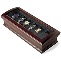 New Watch Display Case Mahogany Wood Finish - 6 Watches Brand Bombay - Glass Topped Case by Bombay Brand