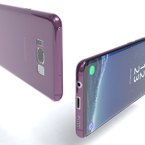 """EAZY CASE Handyhülle für Samsung Galaxy S8 Plus Hülle - Premium Handy Schutzhülle Slimcover """"Brushed"""" Aluminium Design - TPU Silikon Backcover in brushed Lila Purple - Clear"""