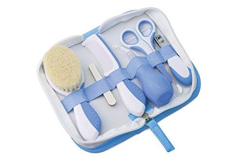 Nuvita 1136 Baby Pflegeset für Neugeborene mit Aufbewahrungstasche – Erstausstattung Gesundheitsset – Reise Pflegeset Für Kleinkinder, Säuglinge, Babys - EU Marke – Entworfen in Italien (Blau)