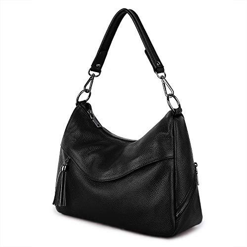 YALUXE Handtasche Echtleder Damen Kuhfell Geldbörse Hobo Fashion Tote Bag Umhängetasche Schwarz
