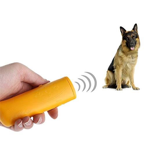 DJLOOKK Repeller para Perros por ultrasonidos, 3en 1abbaino de arresto portatil, LED ultrasónico para Perros addestratore Externo para Perros de pequeño y Mediano Talla