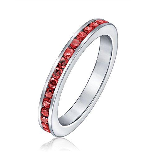Zirkonia Rot Stapelbar Cz Channel Set Ewigkeitsring Simulierten Ruby Für Damen Für Jugendlich 925 Sterling Silber (Ring Silber Ewigkeit Granat)