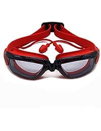 WANGJISHENG Nuevas Gafas Impermeables y antivaho para niños, Tapones para los oídos de Silicona ecológicos, Gafas Profesionales para niños, Negro y Rojo