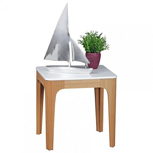 FineBuy Beistelltisch North 50 x 50 x 50 cm | Wohnzimmertisch Skandinavisch aus MDF Holz | Couchtisch Tischplatte weiß mit Gestell in Eschefurnier | Anstelltisch Retro Quadratisch Eckig Skandi