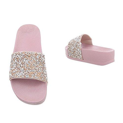 Ital-Design Pantoletten Damenschuhe Sandalen Sandaletten Beige Multi P-758