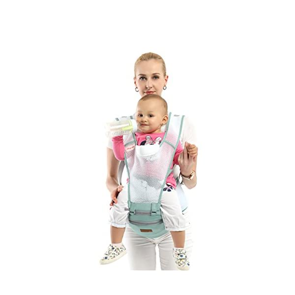 SONARIN 360°Breathable Premium Hipseat Baby Carrier, Ergonomic, Mummy Bag,100% Cotton, Breathable mesh Backing, Cozy & Soothing for Babies,100% Guarantee and Free DELIVERY,Ideal Gift(Green) SONARIN Applicable age and Weight:0-36 months of baby, the maximum load: 36KG, and adjustable the waist size can be up to 45.3 inches (about 115cm). Material:designers carefully selected soft and delicate 100% cotton fabric. Resistant to wash, do not fade, Inner pad: EPP Foam,safe and no deformation.360 ° all-round breathable, to the baby comfortable and safe experience. Description: patented design of the auxiliary spine micro-C structure and leg opening design, natural M-type sitting.Thickening 30mm sponge soft filling, effectively relieve Mommy abdominal force. 3D honeycomb hollow network, summer do not have to hot. 4