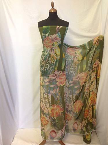 Floral Georgette Bluse (Iana Fabrics Kleid G, Mehrfarbig, florales Abstraktes Chiffon-Print, 147 cm)
